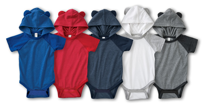 Baby Snapsuits with Hood and Ears.