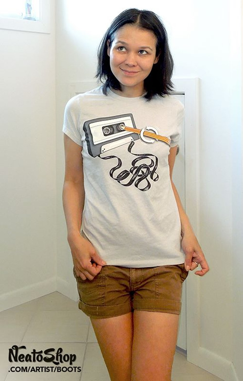 Cassette tee by indie artist Boots