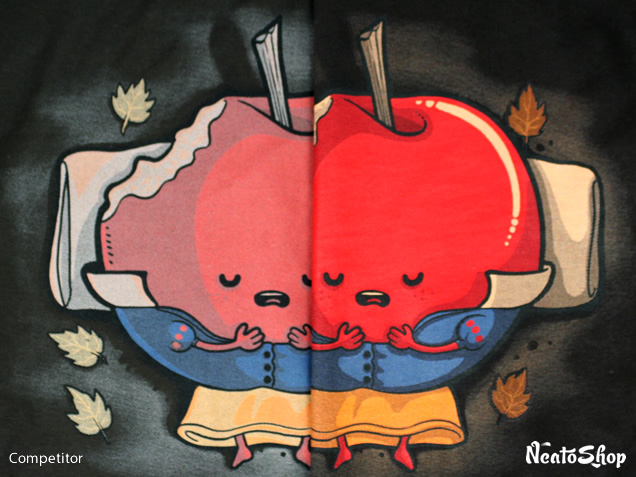 Side by side comparison of red artwork of NeatoShop and competitor shirt prints