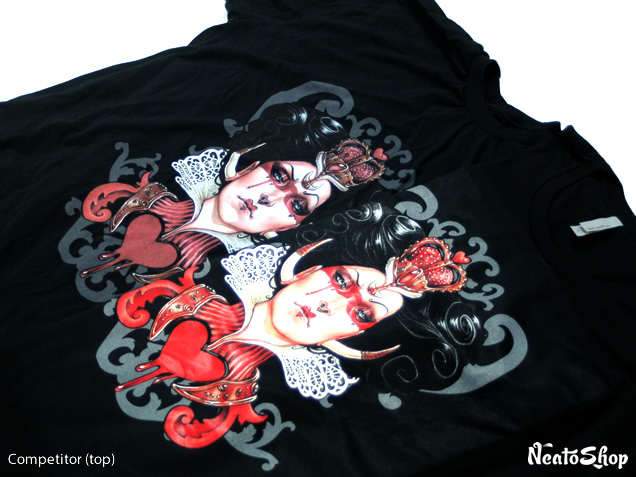 Side by side comparison of Red Queen shirts