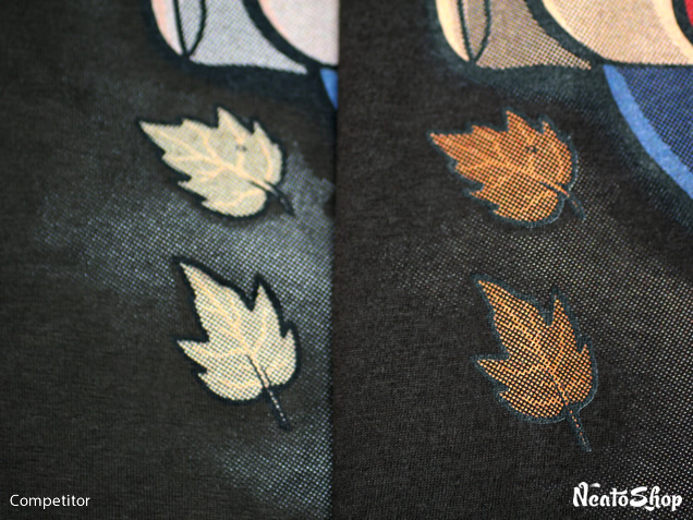 Comparison of leaf image printed on shirts