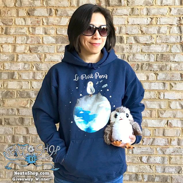 Joyce wearing a sci-fi design hoodie