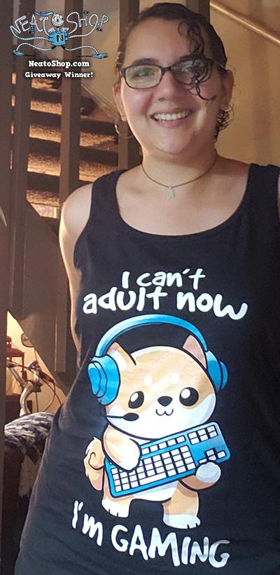 Tabatha wearing a cat design shirt